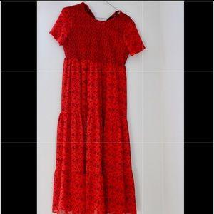 Long red flowery dress